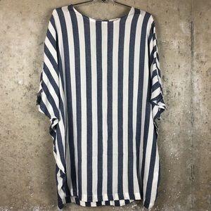 Silence + Noise | Navy Striped Linen Tunic Dress